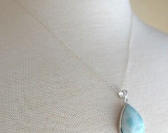 Silver Teardrop Larimar Necklace, Silver Necklace, 18 inch Silver Chain, Teardrop Larimar Pendant, Gift for her, Gift under 150, Blue