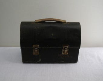 Vintage Black Metal Workmens Lunchbox - American Thermos Bottle Co.