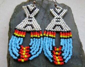 VINTAGE HANDMADE Long BEADED Earrings . Tribal . Native . Bohemian