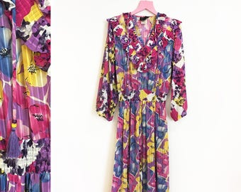 Vintage 1980s does 1920s Diane Freis Sheer Floral Love Sleeved Maxi Dress Size M-L