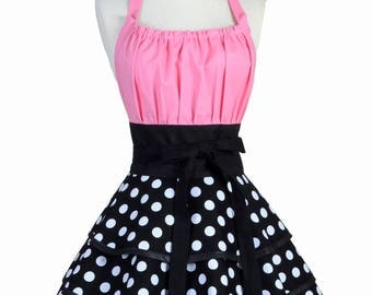 Womens Flirty Chic Apron - Black and White Polka Dots with Bubblegum Pink Womans Sexy Rockabilly Retro Pinup Kitchen Apron (DP)