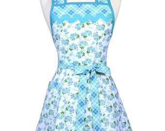 Womens Vintage Apron in Aqua Blue Floral and Plaid Cute Retro 50s Style Kitchen Apron with Pocket and Personalized Monogram Option