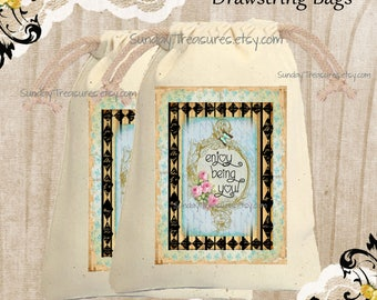 Enjoy Being You Muslin Gift Bag  / 4x6 / Rustic Shabby Pink Roses /  Birthday Gift Card Holder / Jewelry Pouch / QTY DISCOUNT