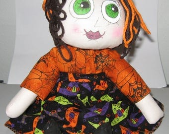JKW Halloween Handmade Raggedy Ann CobWeb Dress Gothic Green Eyes WiTcH DOLL with Bloomers
