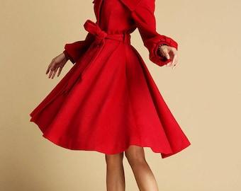 Bright red coat, swing coat, pleated coat, coat with tie belt, collar coat, lapel coat, winter jacket, wool jacket, luxury coat (335)