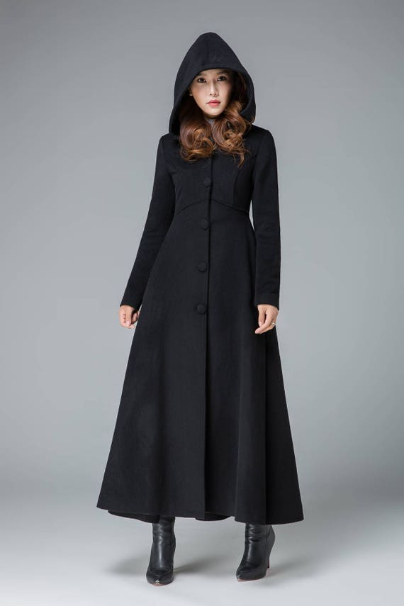 black winter coat wool coat winter coat trench coat hooded