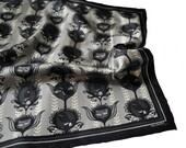Silk Pocket Square / Black Silk Pocket Square / Grey Silk Pocket Square / Patterned Silk Pocket Square / Alice in Wonderland Pocket Square