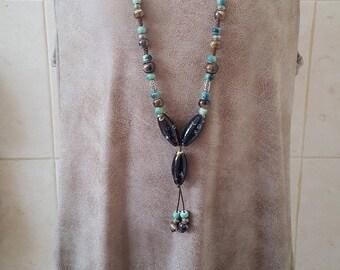SUPER SALE...Gorgeous Ceramic Tassel Necklace. Israel Necklace. Ceramic Necklace. Tassel Necklace. Israel Jewelry