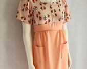 Vintage Women's 70's Peach, Mini Dress, Short Sleeve by JC Penney Fashions (XS)