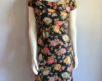 Vintage Women's 50's Betty Clyne, Cocktail Dress, Silk, Black, Floral (XS)