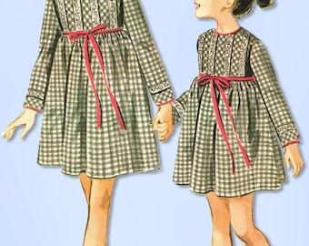 1960s Vintage McCalls Sewing Pattern 8238 Uncut Girls Helen Lee Dress Size 8