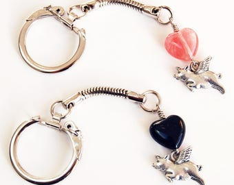 Pig With Wings Heart Keychain Your Choice Black or Pink, Silver Tone When Pigs Fly Flexible Keychain, Easy Open Flying Pigs Silver Keychain