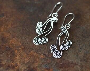 Stylish Handcrafted Silver Earrings, Spiraling Vines Long Dangle Earrings, 925 Sterling Silver, Dots And Swirls Earrings