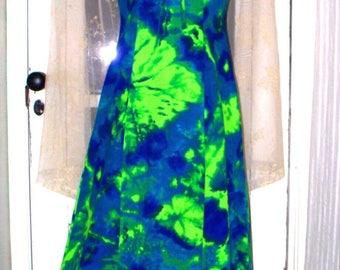 60s/70s tropical hawaiian electric lily pad neon barkcloth waterfall dress