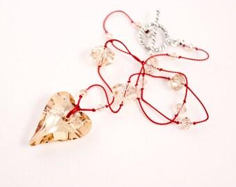 Golden Shadow Wild Heart Necklace, Red Silk, Swarovski Crystals