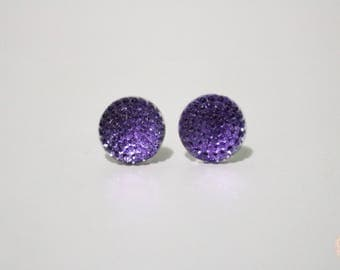 Purple bubble post stud earrings.