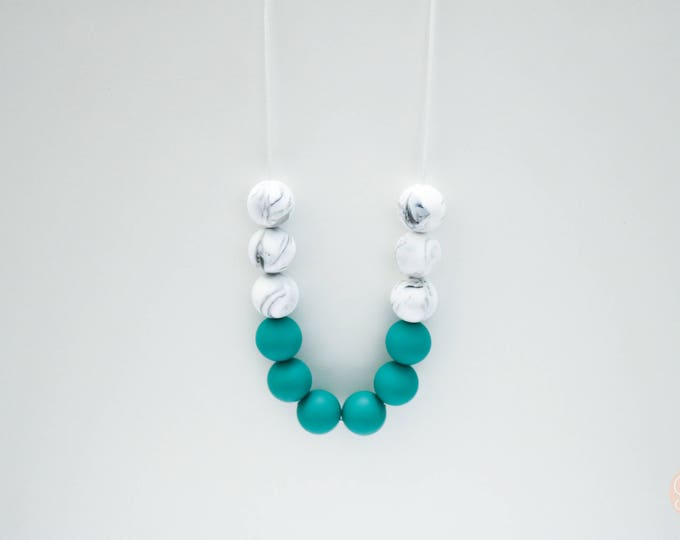 Zoey Silicone Beaded Sensory Marble and Green Necklace.