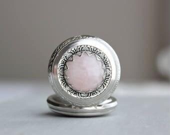 Rose Quartz Pocket Watch Necklace