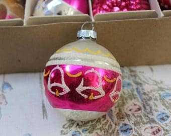 Mercury Glass Christmas Ornament Pink with Bells Mid Century Mica Shiny Brite VINTAGE by Plantdreaming