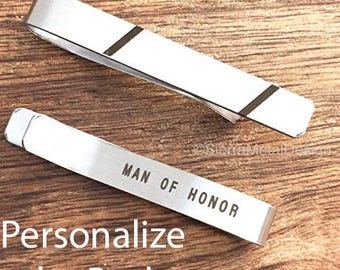 Man of Honor Gift Tie Clip Wedding Tie Bar Man of Honor Gift Groomsman Tie Clip Wedding Party Day Present for Man of Honor
