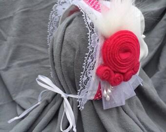 Fuchsia floral baby bonnet