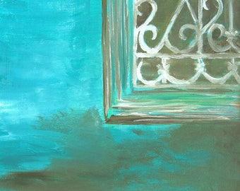 "Window Art, Window Painting, Turquoise Art, Giclee Print, Acrylic Painting, Cottage Art, Abstract Art, Wall Art- ""Window"""