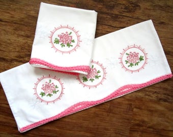 Vintage PILLOWCASES Embroidered with Pink Crochet Edging FANTASTIC Pillow Slips Pure White