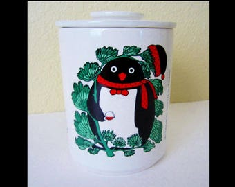 Taylor & Ng 1985 Cookie / Canister / Lidded Storage Jar CHRISTMAS PENGUIN