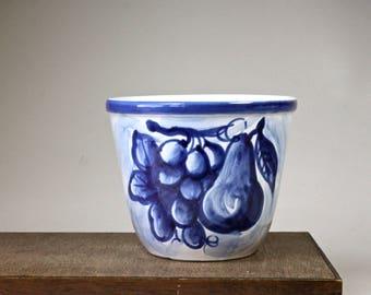 Vintage Italian Art Pottery Bowl Blue White Ceramic Bowl Hand Painted Fruit Pear Grapes