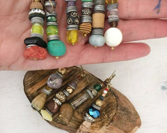2 pairs of mis matched gemstone, beaded, repurposed earrings, tribal dangle earrings, boho chic, assemblage homespun jewelry, beads