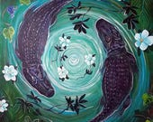 Swamp Magic (alligators, magnolias, wild grapevine, floral, nature, southern, night, moonlight, new orleans, louisiana, gulf coast, decor)