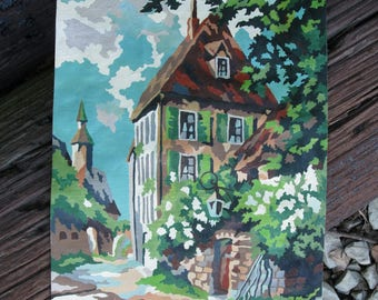 Vintage Paint by Number Continental Village House Sidewalk Trees 1952 Pann Products Mid Century PBN Unframed Canvas Painting