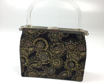 Vintage After Five Reversible Paisley Retro Handbag