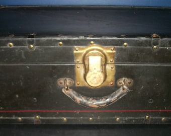 Vintage Metal Travel Trunk Steamer Chest Black with Red Stripe Foot Locker