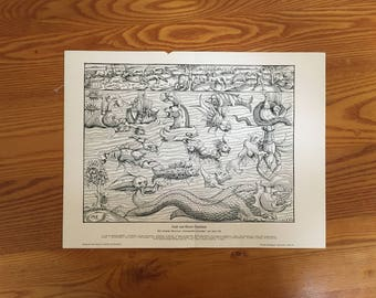 1900 LAND & SEA MONSTERS lithograph - original antique print - from Sebastian Münster's Cosmographia - early depiction of land + sea animals