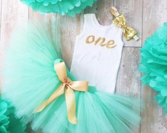 Mint Gold Birthday Outfit | Birthday Outfits | 1st Birthday Outfit | First Birthday Outfit | Cake Smash Outfits | Tutu Dress | Birthday Tutu