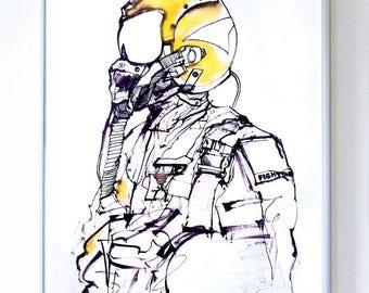 11 x 14 inch NAVY Aviator Art Print, Science Poster, Original Illustration - Stellar Science Series™