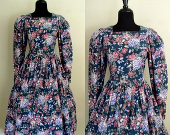 Vintage 1980's Laura Ashley Dress / 80's Victorian Revival Dress / Green Floral Corduroy Tea Dress