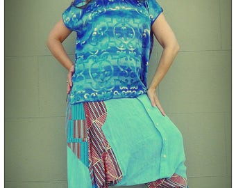 Upcycled Vintage Scarf T-Shirt Blue Patterned Print Tunic                       ReMade in Brighton UK