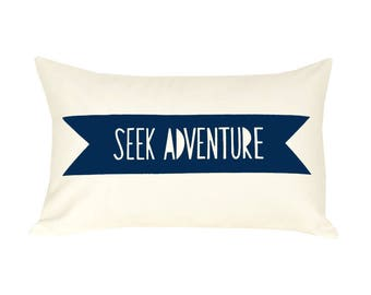 Navy blue pillow, accent pillows, organic pillows, accent pillow covers, 12x16 pillow, seek adventure, navy blue decor, adventure decor