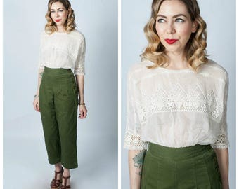 Edwardian Silk and Lace Cream Blouse/ Vintage 1900's to 1910's Lace Shirt Top