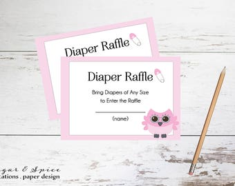 Owl Diaper Raffle Printable, Baby Shower Diaper Raffle, Diaper Raffle Ticket, Girl Diaper Raffle Card, Instant Download