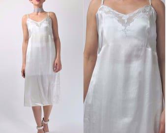 Vintage 1940s Slip Dress Ivory Floral Embroidered Wedding Slip Dress Sheer Nightgown Bridal Lingerie Scalloped Something Blue (S/M) E9086