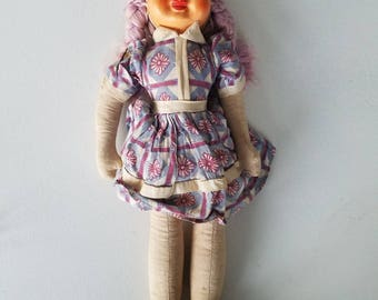 Cloth Jointed Vintage Purple Hair Doll