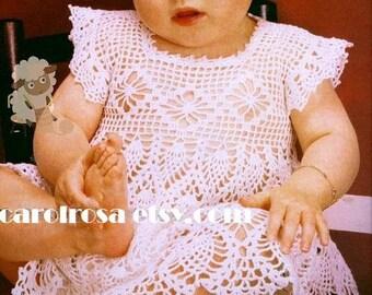 Crochet Pattern - Filet Thread Crochet Baby Dress - Pineapples 6 months size