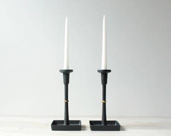 Vintage Dansk Candle Holders, Modern Black Candle Holder Pair