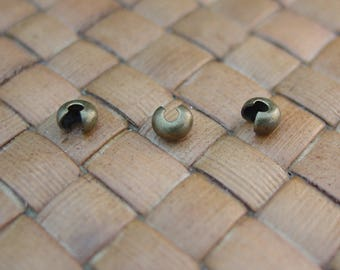 3 mm Crimp Covers, Antiqued Gold Plated Brass (100 or 500 pcs)