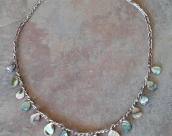 Abalone, boho crocheted necklace, beaded necklace, beach chic necklace,  beach, shell necklace