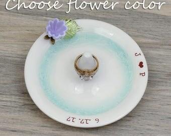 custom ring stand, Engagement ring holder, wedding ring dish, lilac flower