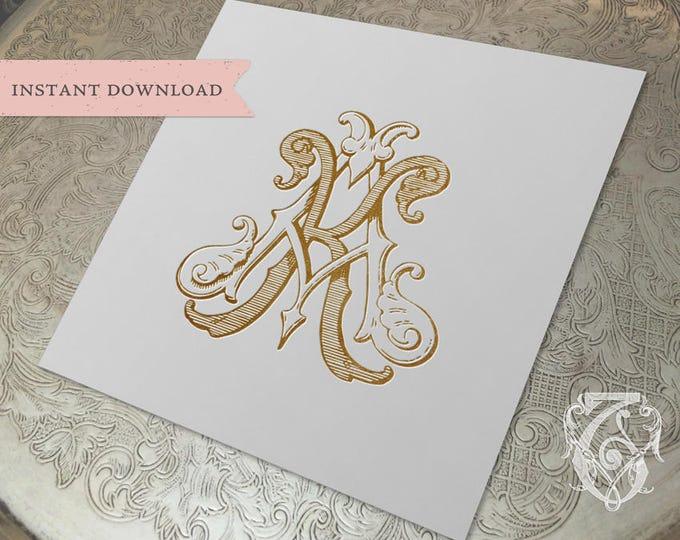 Vintage Wedding Monogram KA AK Digital Download  K A